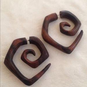 Jewelry - Carved wooden faux gauge earrings